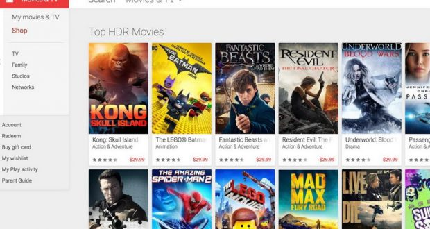 Google Play filmy HDR