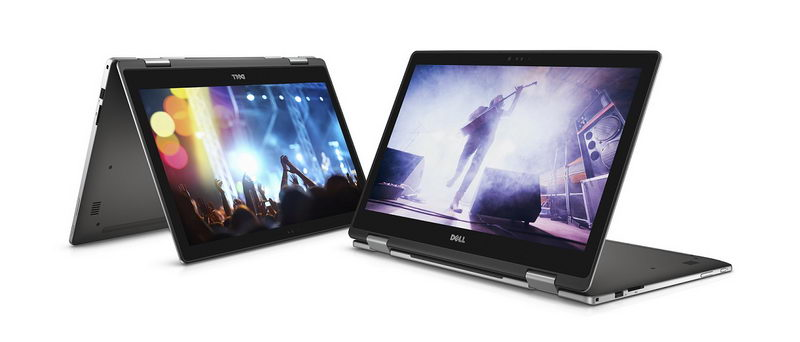 Two Dell Inspiron 15 7000 Series (Model 7569) 2-in-1 Touch notebook computer, codename Starlord. One model shown with in tent mode, the other shown with keyboard folded underneath as a stand.