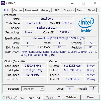 Intel Core i7-8700K CPU-Z 01