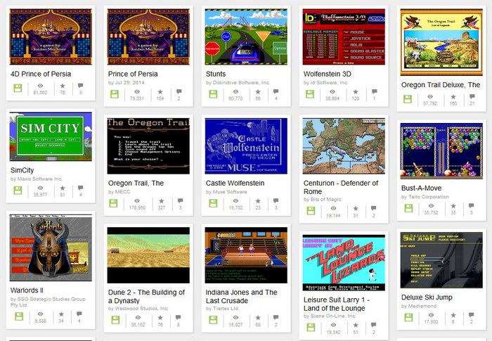 Stare gry MS-DOS Internet Archive