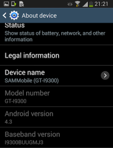 Android 4.3 Samsung Galaxy S3