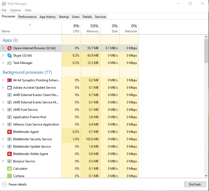 Opera 35 task manager