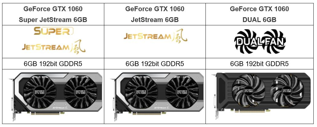 Palit GeForce GTX 1060  JetStream, Super JetStream i DUAL